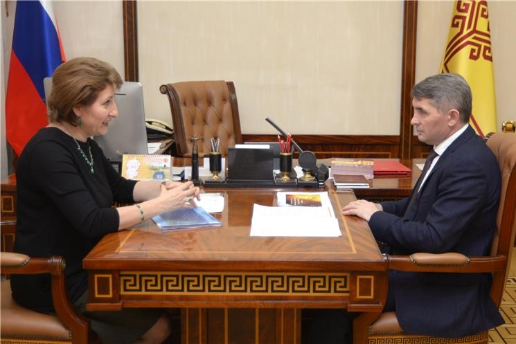 Олег Николаев встретился с председателем Контрольно-счетной палаты Чувашской Республики Светланой Аристовой