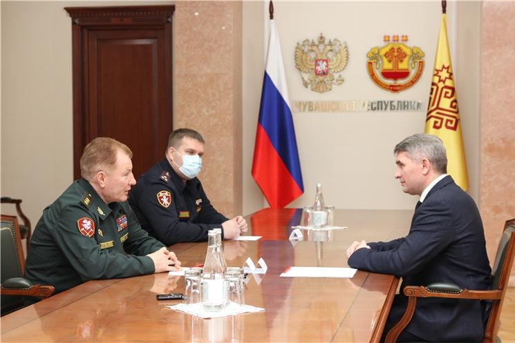 Глава Чувашии провел рабочую встречу с командующим Приволжским округом войск национальной гвардии