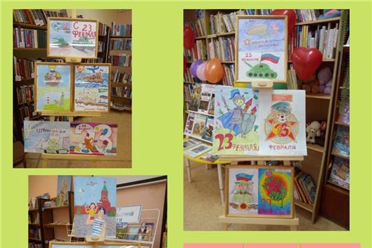 «Наши защитники» - выставка творческих работ  учащихся детской школы искусств № 3  в библиотеке Семейный центр им. М. Шумилова