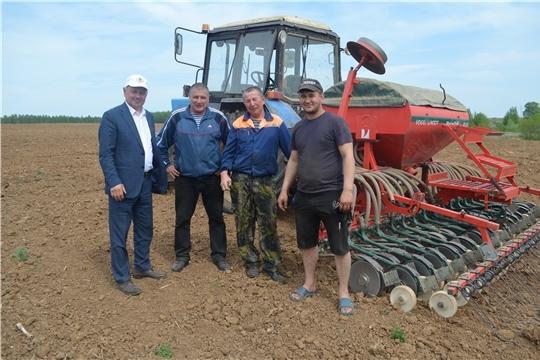 Глава администрации Мариинско-Посадского района Владимир Мустаев ознакомился с ходом полевых работ