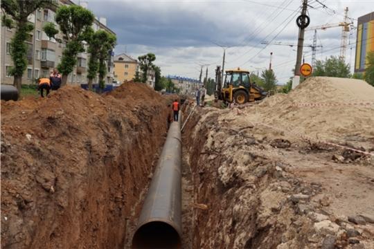 На ул. Гражданской в Чебоксарах ведется  замена инженерных коммуникаций в рамках нацпроекта «Безопасные качественные дороги»