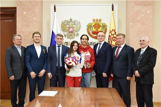 Встреча Главы Чувашии с членами сборной команды России по фристайлу