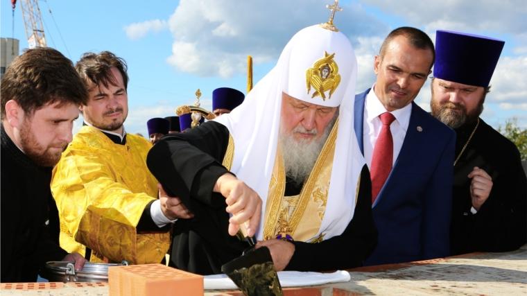 Святейший Патриарх Кирилл в Чебоксарах совершил чин закладки капсулы под строительство Большого Соборного храма в честь Преподобного Сергия Радонежского