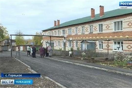 В селе Порецком благоустраивают придомовые территории и планируют преобразить центральный парк