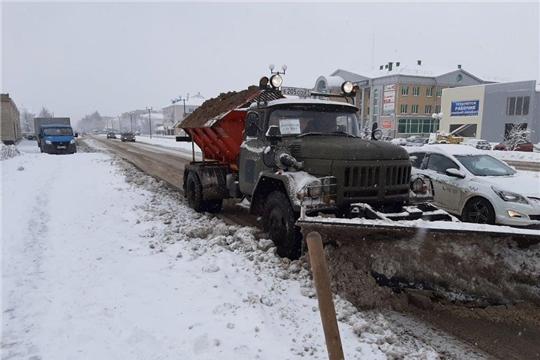Очистка автодорог города Канаш от снега
