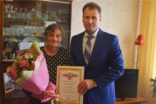 Глава администрации города Шумерля А.Д. Григорьев поздравил ветерана труда З. А. Шишову с 85-летним юбилеем