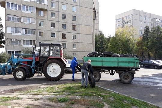 С дворовых территорий Ленинского района города Чебоксары вывезено 118 автомобильных покрышек