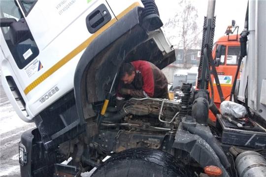Филиала АО «Управление отходами» завершил подготовку техники, обеспечивающей обработку ТКО,  к работе в зимний период