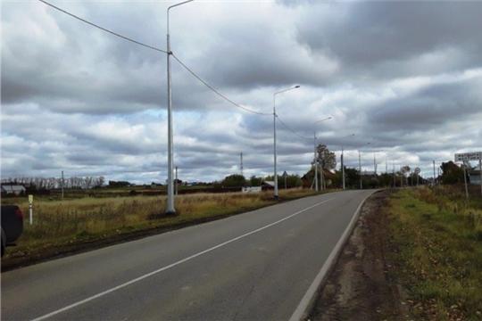 Строительство наружного освещения на автомобильной дороге «Шихазаны-Калинино» в Канашском районе завершено