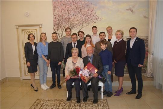 В администрации Московского района г. Чебоксары чествовали юбиляров семейной жизни, супругов Евдокимовых
