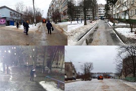 Работники ЖКХ Московского района г. Чебоксары в штатном режиме проводят противогололедные мероприятия