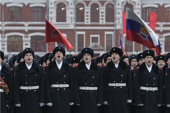 Школьники Чувашии приняли участие в Параде Памяти, посвященном 78-ой годовщине Военного парада 7 ноября 1941 года