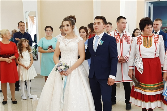 Регистрация 50-й пары новобрачных в отделе ЗАГС администрации Шемуршинского района