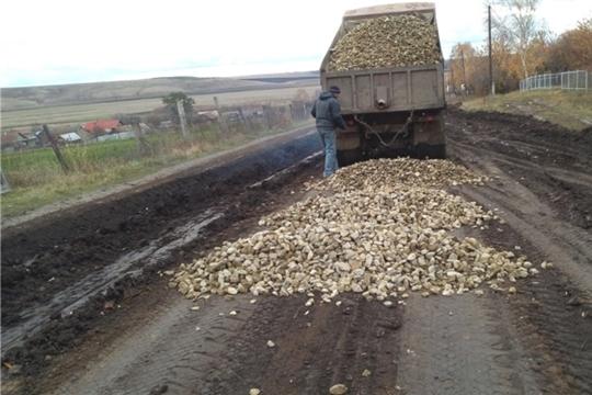 В эти дни в деревне Козыльяры на улицах Кубня и Набережная ремонтируются дороги