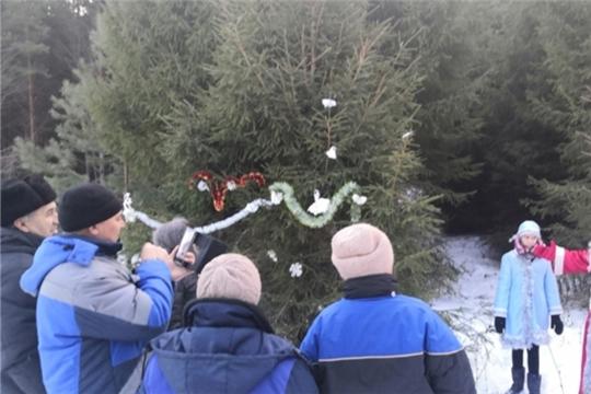 Встреча Деда Мороза и Снегурочки в зимнем лесу