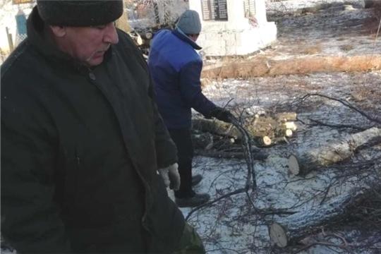 Санитарная очистка территории парка Победы в честь погибших воинов в Великой Отечественной войне в деревне Новое Муратово