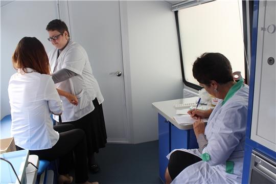 100 человек в Алатыре привились от гриппа в передвижном мобильном комплексе