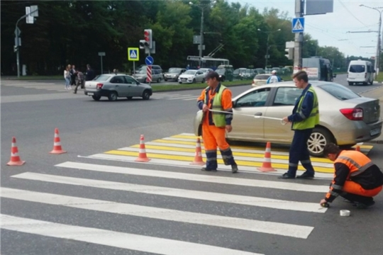 Первая разметка на объекте нацпроекта в Чебоксарах – на улице Кривова