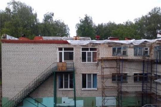В детском саду №14 «Солнышко» города Шумерля наряду с текущим ремонтом кровли начался ремонт пищеблока