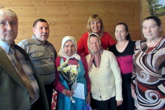 Поздравления с 90-летием получает жительница села Новое Чурашево Ольга Васильева