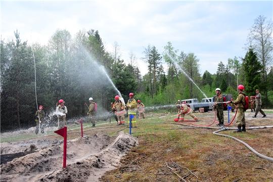 В Ибресинском районе прошли тактико-специальные учения по тушению лесных пожаров