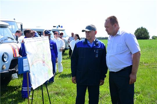 В Ибресинском районе прошло командно-тактическое учение по ликвидации чрезвычайной ситуации на гидротехническом сооружении «Рассвет»