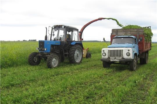 В Ибресинском районе продолжается работа по заготовке кормов