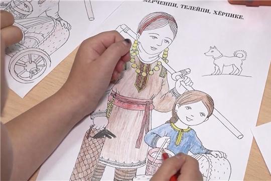 В магазине Чувашского книжного издательства провели мастер-класс по раскрашиванию чувашского костюма