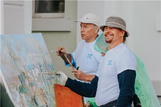 Коллективную панорамную картину Чебоксарского залива написали на I Международном пленэре