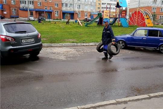 В Калининском районе г. Чебоксары с парковок во дворах вывезено 44 шины