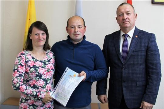 Красночетайской семье вручено свидетельство о праве на получение социальной выплаты на приобретение жилья