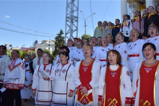 Участники хоровых коллективов Красночетайского района - в составе Сводного хора Чувашии