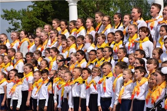 На празднике выступил сводный Детский хор Чувашии