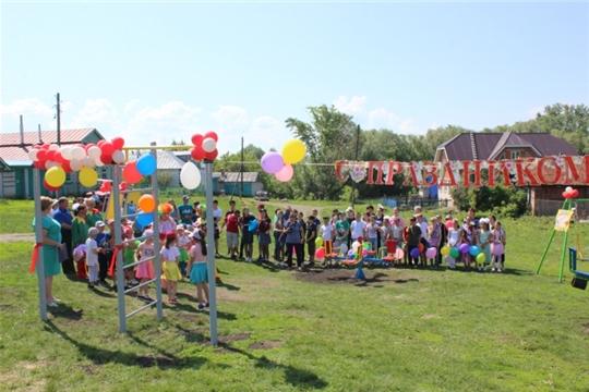 Открытие детской игровой площадки в д. Полевое Шептахово Комсомольского района в рамках проектов иницативного бюджетирования