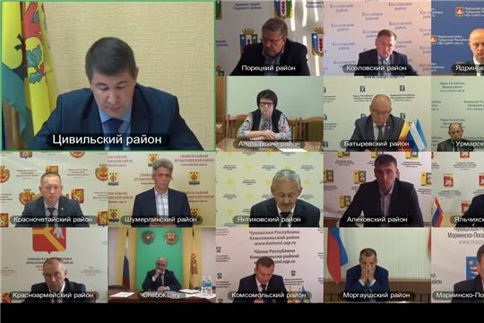 Сергей Артамонов провел в режиме видеоконференцсвязи очередное совещание с главами администраций муниципальных районов Чувашской Республики
