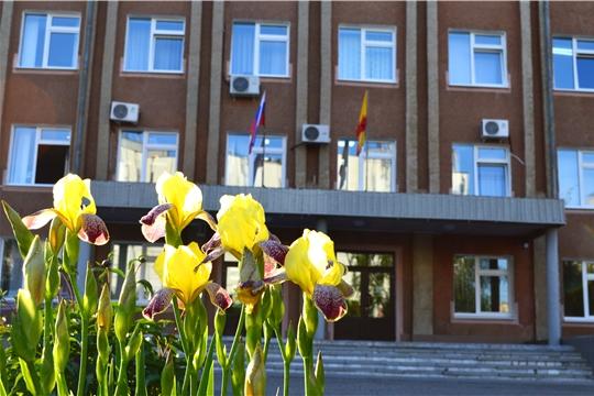 Перед зданием Минюста Чувашии заиграли красками яркие клумбы