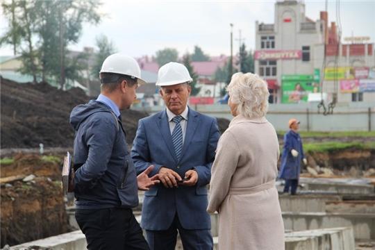 Министр Сергей Кудряшов проинспектировал ход строительства  детского  сада в Цивильске
