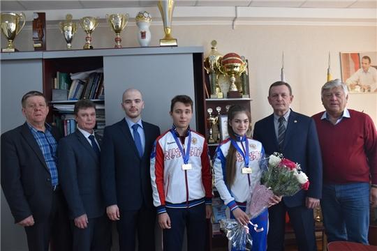 Встреча с медалистами первенства Европы по самбо состоялась в Минспорта Чувашии