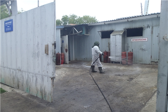 В Алатырском районе активно ведется дезинфекция хозяйствующих субъектов