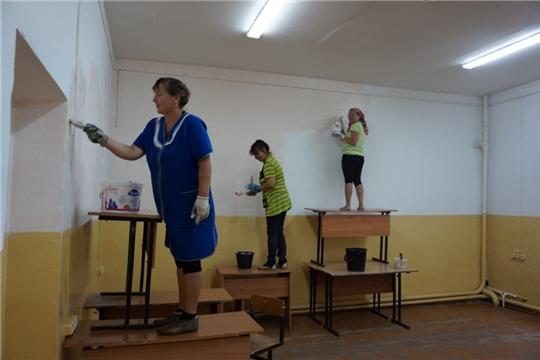 В МБОУ «Яльчикская СОШ» полным ходом идут ремонтные работы