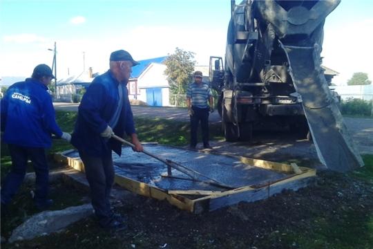 В Янтиковском сельском поселении ведутся работы по изготовлению и устройству контейнерных площадок