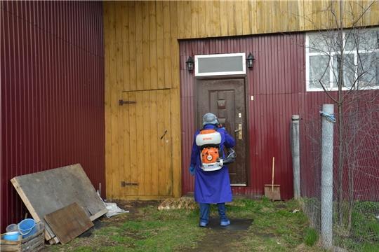В районе продолжается обработка домов от распространения коронавирусной инфекции