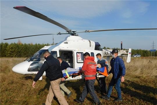 Вертолет доставил пациента из села Аликово в Республиканскую клиническую больницу