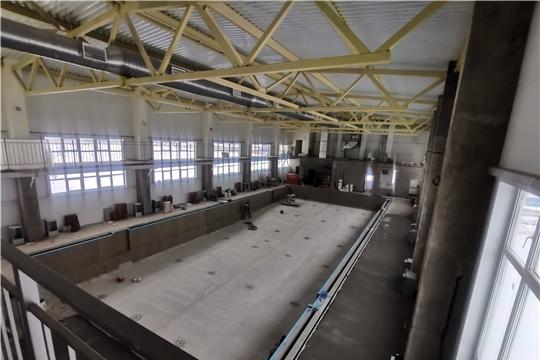 «Спорт – норма жизни»: в с.Аликово продолжается строительство 25-метрового плавательного бассейна