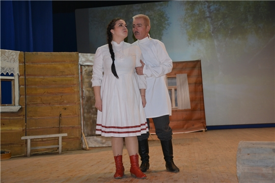Батыревский народный  театр  на сцене Кокшановского сельского  клуба