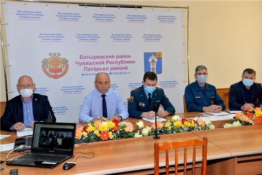 Внеочередное заседание комиссии по предупреждению и ликвидации ЧС и обеспечению пожарной безопасности в Батыревском районе в режиме ВКС