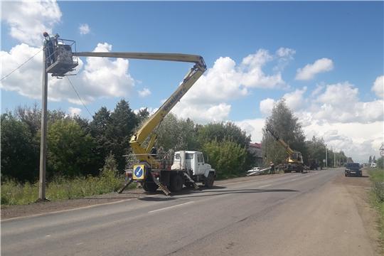 Канашские городские электрические сети выполнили работы по монтажу уличного освещения автомобильной дороги Янтиковское шоссе
