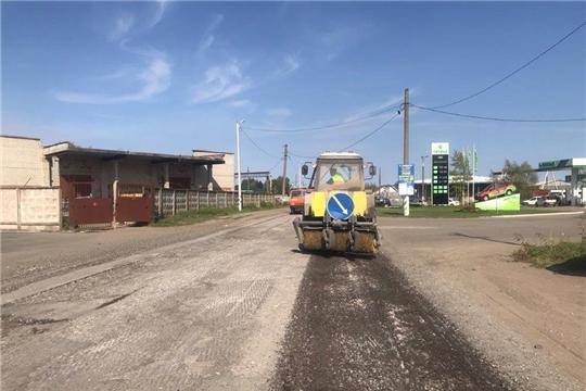 В городе Канаш выполняются работы по ремонту участка автомобильной дороги «ул. Канашская»