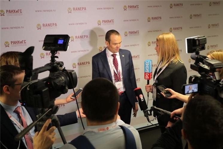 Михаил Игнатьев в ходе своей работы на Гайдаровском форуме ответил на вопросы федеральных СМИ