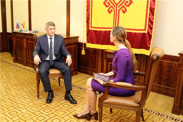 Врио Главы Чувашской Республики Олег Николаев дал интервью телеканалу «Россия 24»
